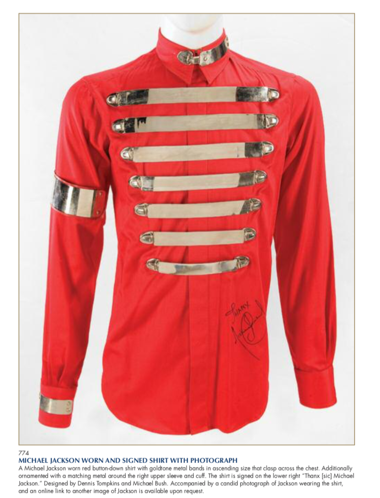 Ventes aux enchères -  - Page 3 Michael-Jackson-worn-and-signed-shirt-782x1024